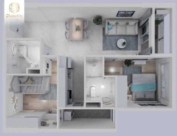 căn 2 phòng ngủ charm city