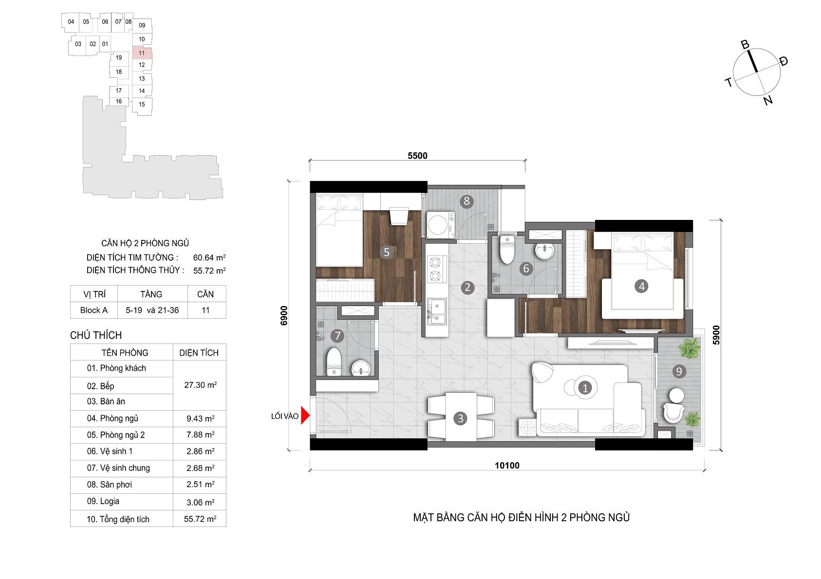 layout căn 2 phòng opal skyline