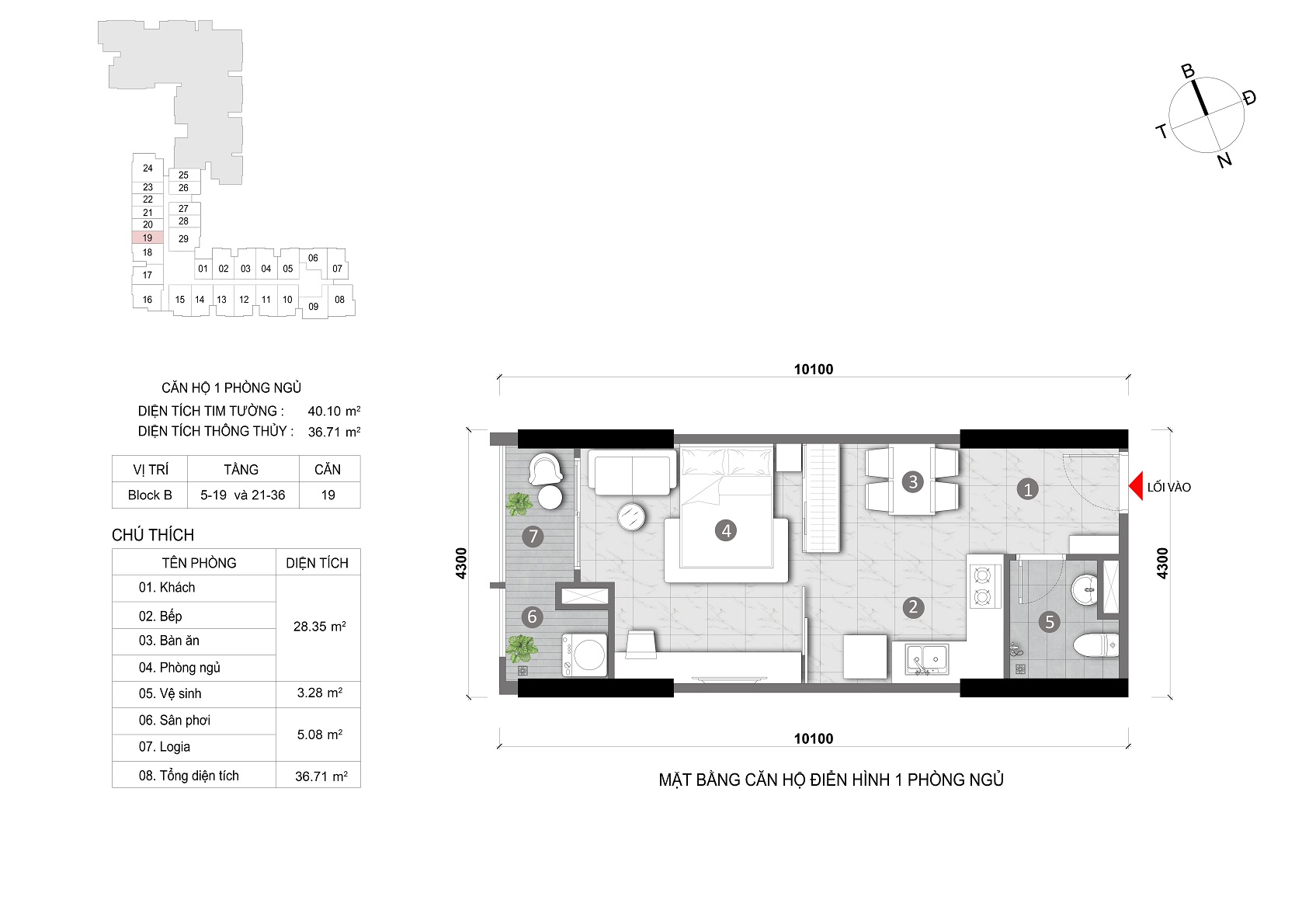 layout căn 1 phòng opal skyline