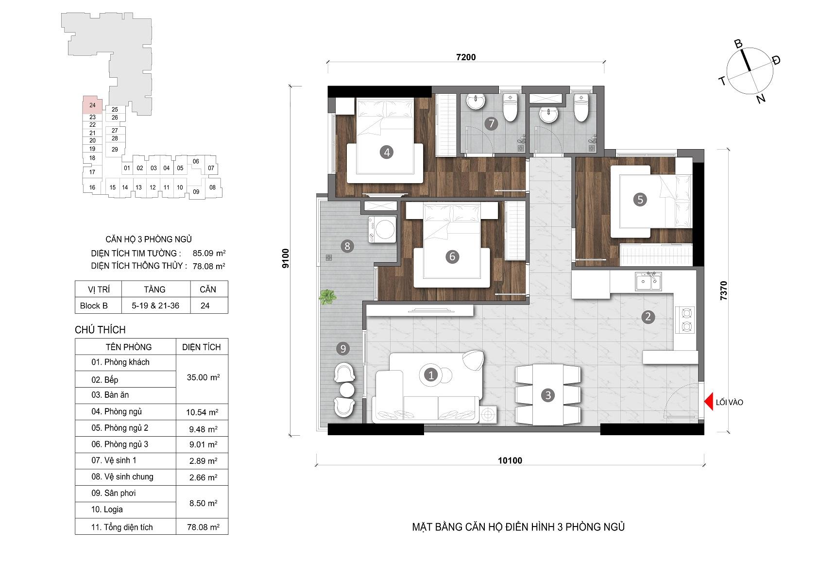layout căn 3 phòng opal skyline