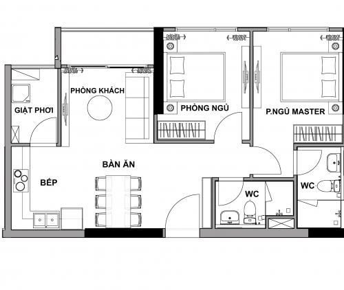 thiết kế căn 2 phòng ngủ